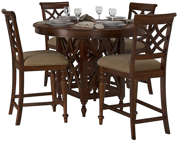 Oxford Mid Tone Round High Table 4 Wood Barstools Round Dining Table Sets Wood Bar Stools High Table Round table set for 4