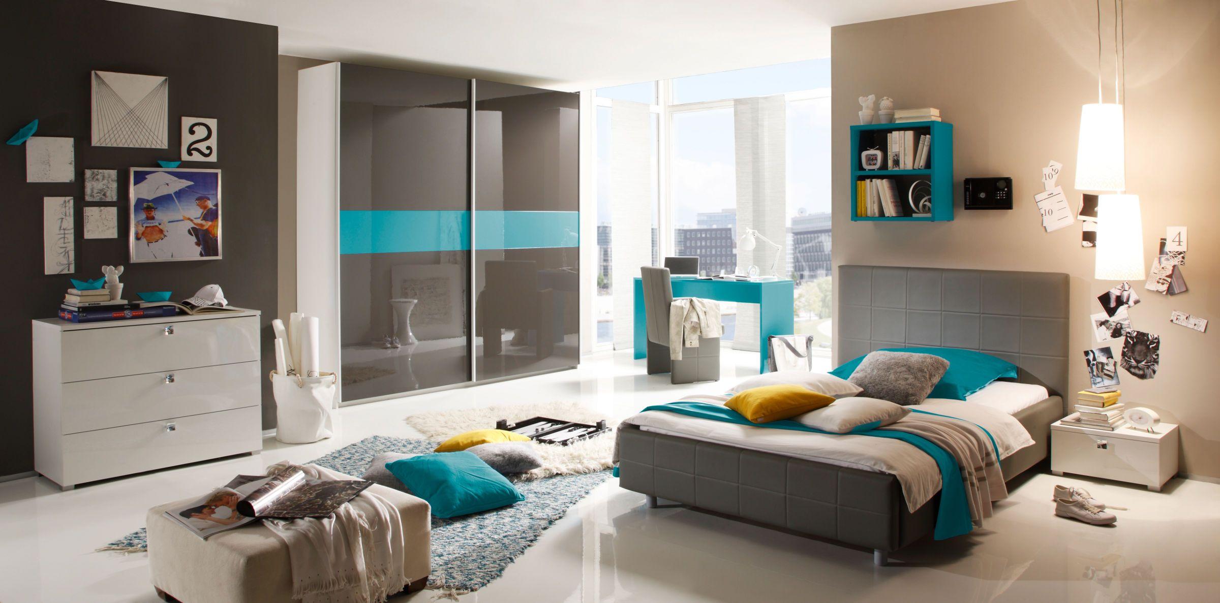 Schlafzimmer Braun Türkis