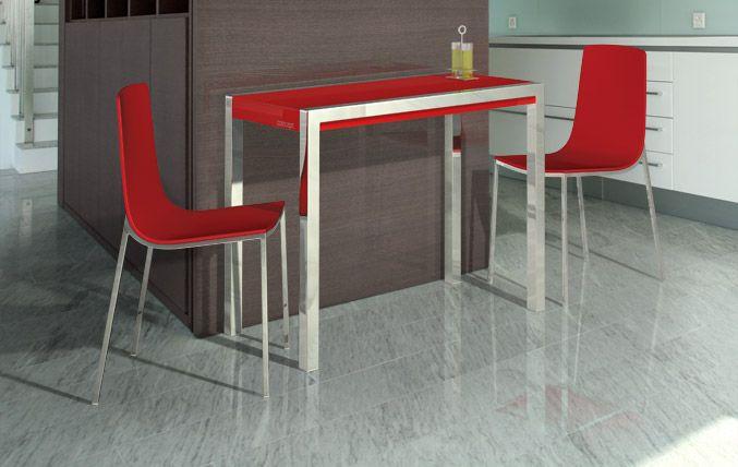 Cancio - Mesa Concept Minor, encimera Cristalcolor rojo brillo ...