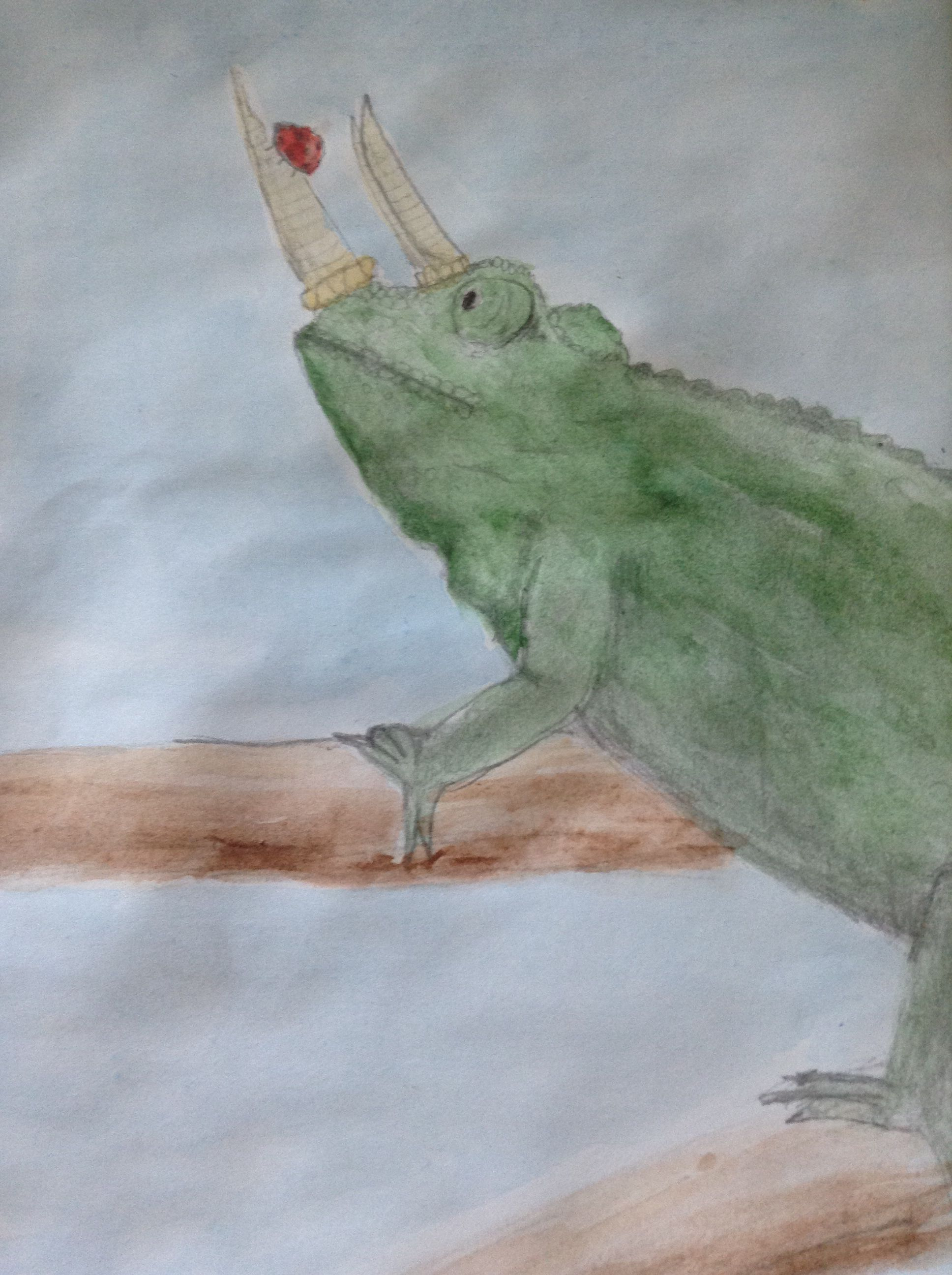 Three Horned Chameleon- water color