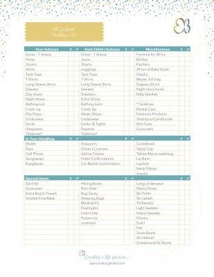 APO-Checklist-All Seaasons Packing List A Personal Organizer - packing checklist template