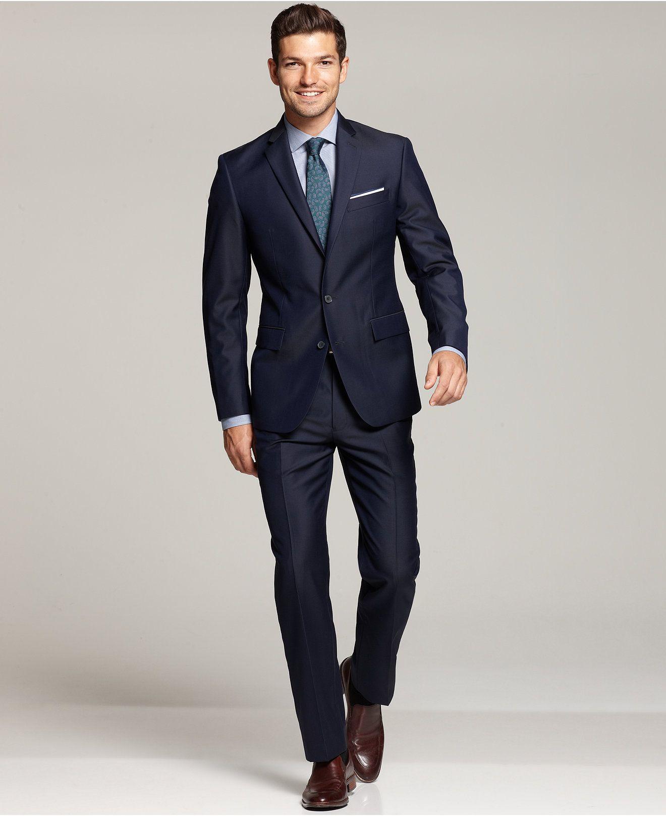 Ryan Seacrest Distinction New Blue Solid Modern Fit Suit Separates ...