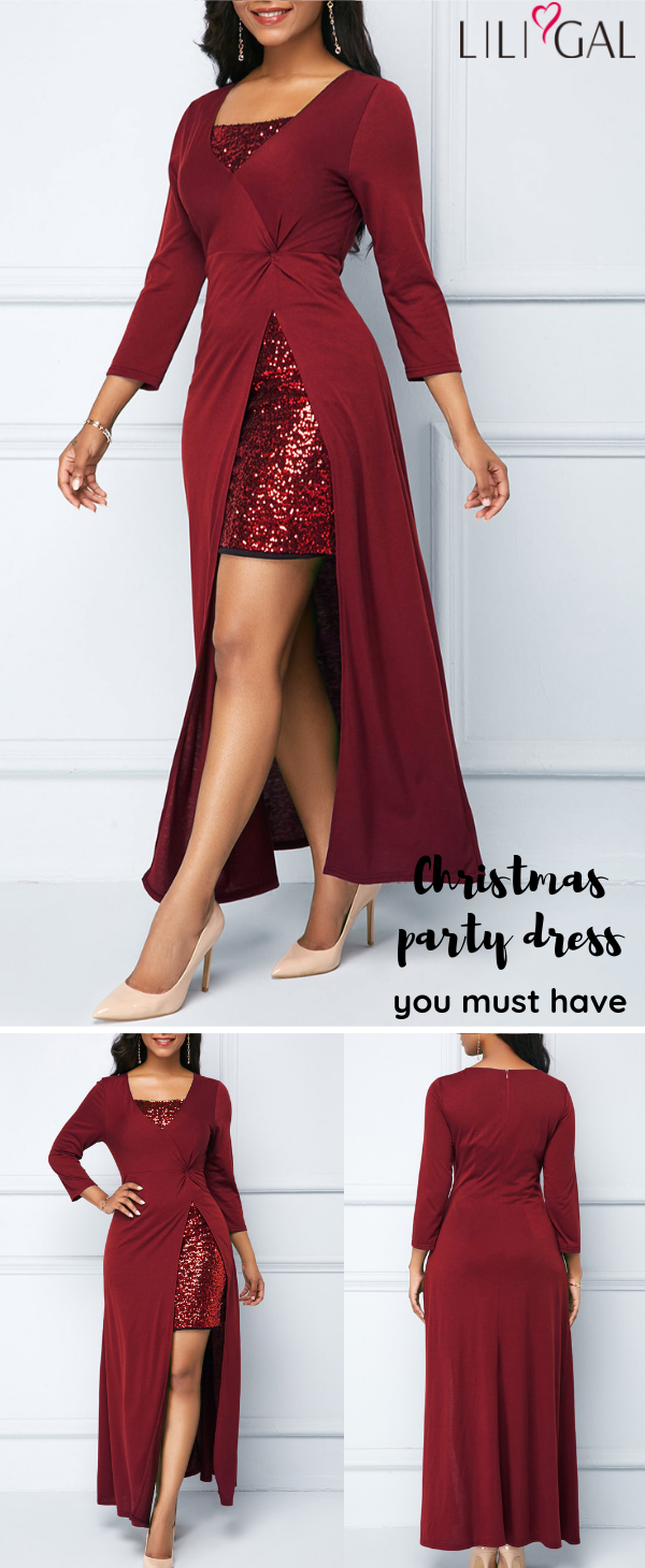 569c04e2e1 Wine red sequin dress, sparkle and shine Christmas party dress, free ...