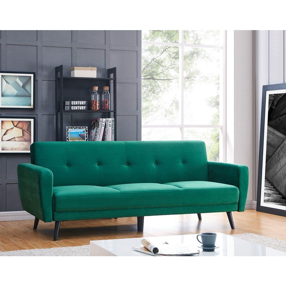 Awe Inspiring Esben 3 Seater Velvet Sofa Bed Dark Forest Green Luxo Machost Co Dining Chair Design Ideas Machostcouk