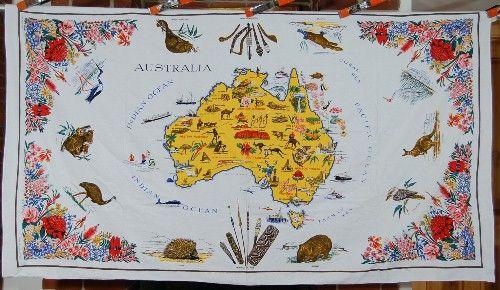 Large vintage australia souvenir tablecloth koala wombat large vintage australia souvenir tablecloth koala wombat aboriginal weapons ebay gumiabroncs Image collections