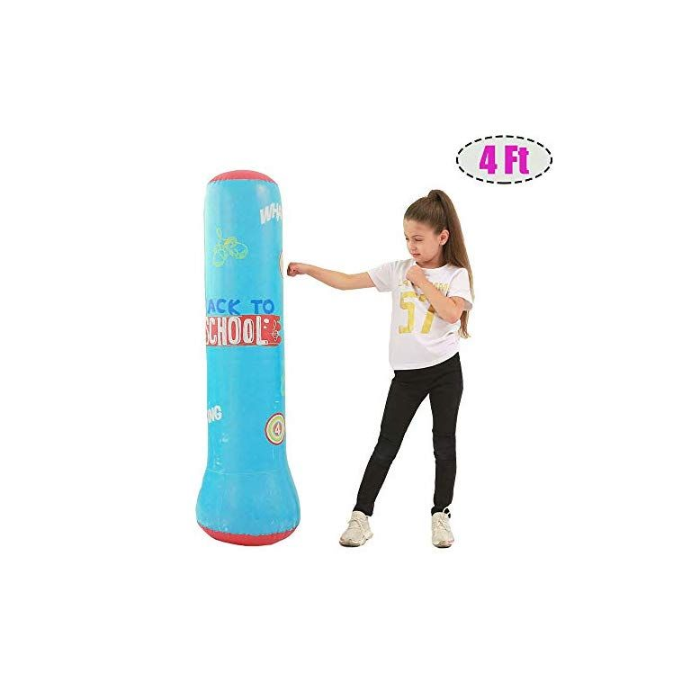 Heavy Training Bag Adults Teenage Fitness Sport Stress Relief Boxing Target for Kids MrsharkFit Inflatable Punching Bag for Kid Free Stand