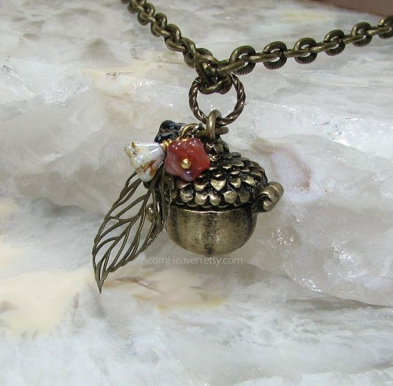 50efe70320b959 Hinged Lid Acorn Secret Keeper Locket 24 Necklace by AcornHeaven, $22.00