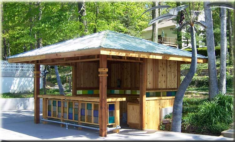 Wood Building Pool Bar Cedar Decks Wood Decks Gazebos