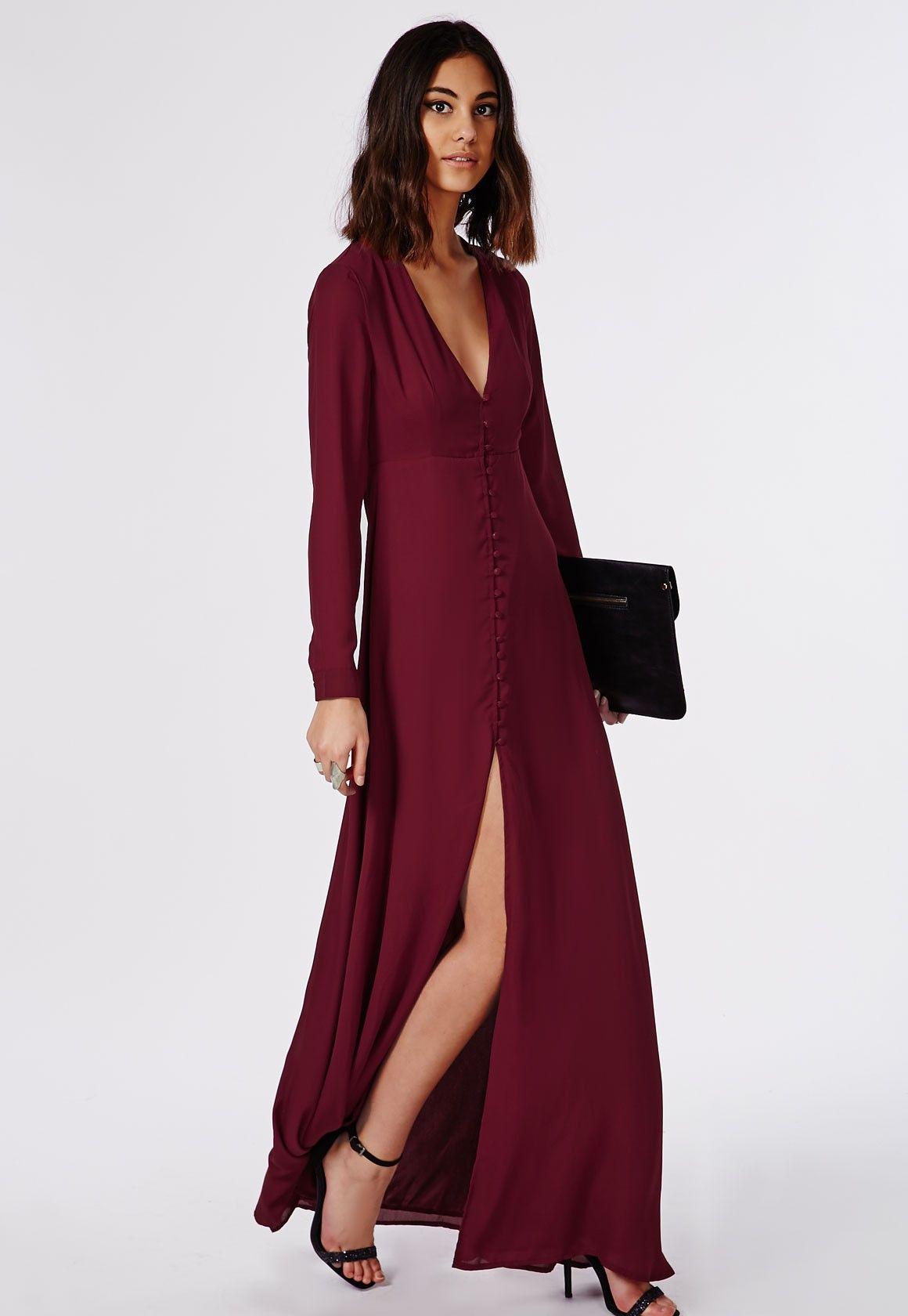 Missguided Effie Long Sleeve Maxi Dress Burgundy Maxi Dress Long Sleeve Maxi Dress Tight Red Dress [ 1680 x 1160 Pixel ]
