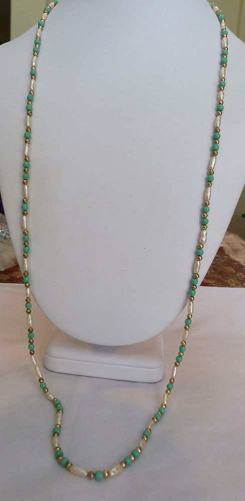 """33 3/4"""" LONG VINTAGE GOLD FILLED TURQUOISE BEAD FRESHWATER RICE PEARL NECKLACE"""