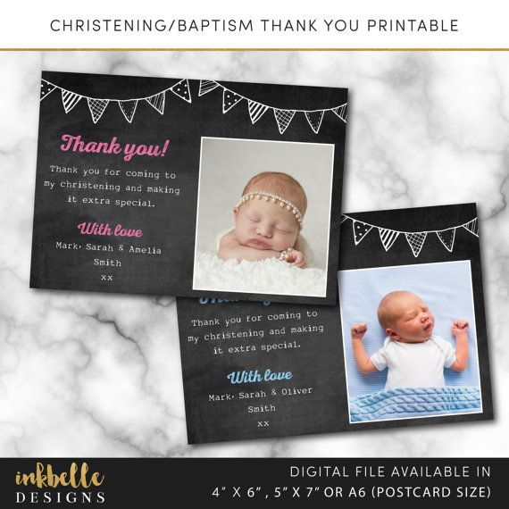 christening thank you card baptism thank you card bunting chalk, invitation samples
