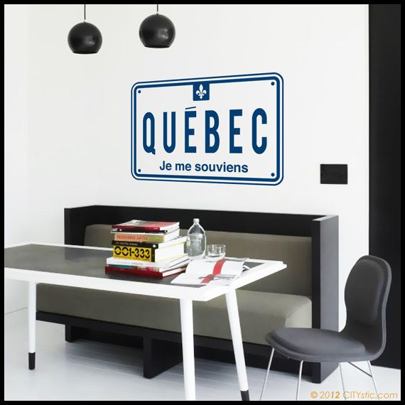 Canada Wall Decal Quebec Car Plate With Je Me Souviens Motto