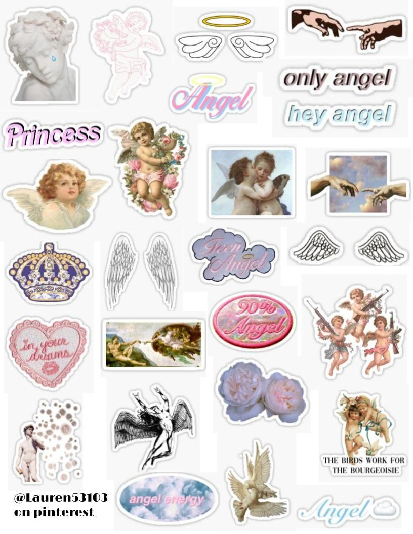 Angel Aesthetic Sticker Pack Princess Y2k Soft Girl Pink White