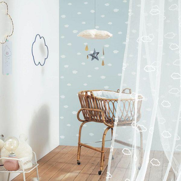 Papel pintado nubes infantiles para decorar habitaci n de - Habitacion bebe papel pintado ...