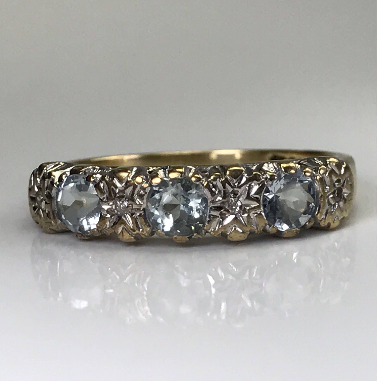 Aquamarine Diamond Ring. Vintage Gold Band. Unique Wedding