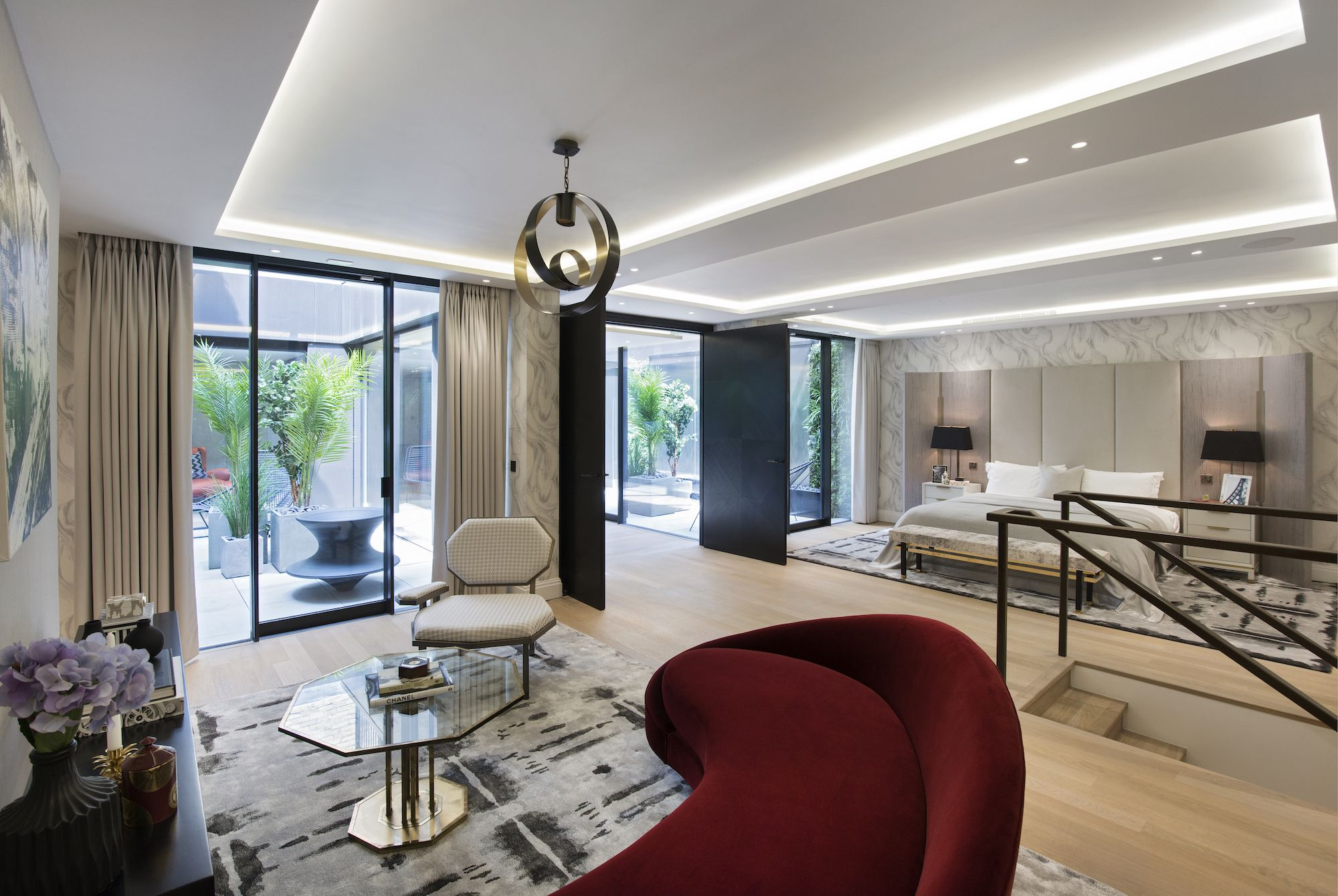 Luxury master bedroom plan   London Park Crescent  luxury interior design open plan master