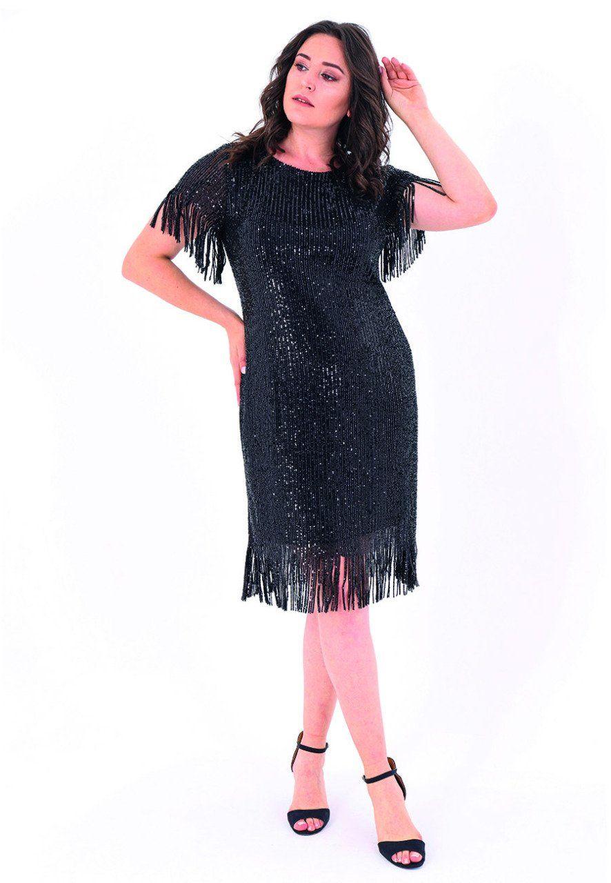 Buyuk Beden 768 Tuvid Elbise Siyah The Dress Kadin Giyim Elbise