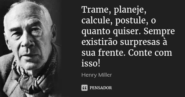 Trame, planeje, calcule, postule, o quanto quiser. Sempre existirão surpresas à sua frente. Conte com isso! — Henry Miller