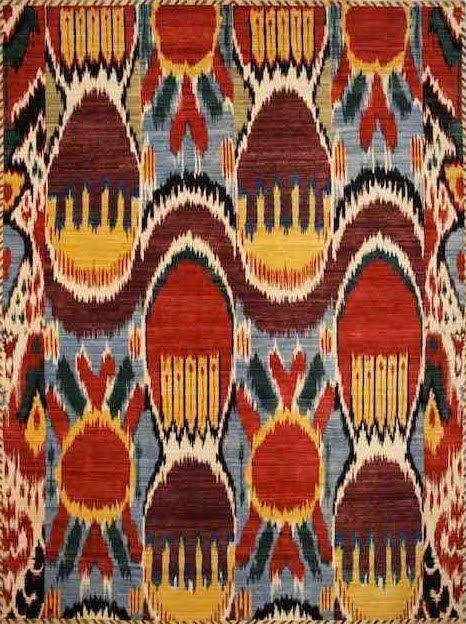 Rich Colors Pattern Ikat Tapis Tissu Vintage Tapis Kilim