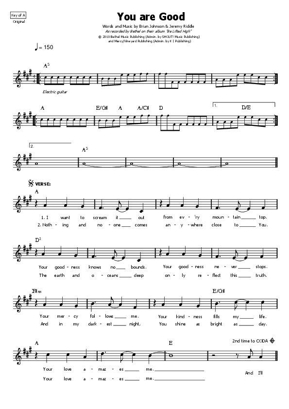You are Good | Pinterest | Sheet music, Brian johnson and Pianos