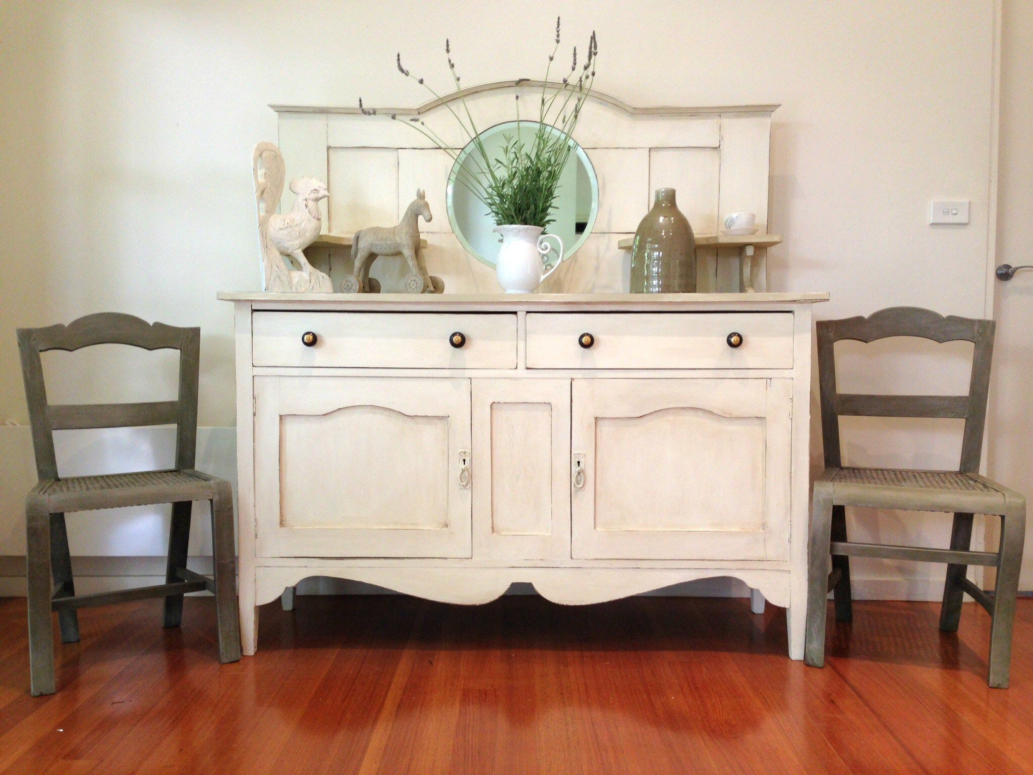 Antique sideboard makeover in Chalk Paint   by Rusty Blue Refashioned  Furniture. Antique sideboard makeover with Chalk Paint   by Rusty Blue