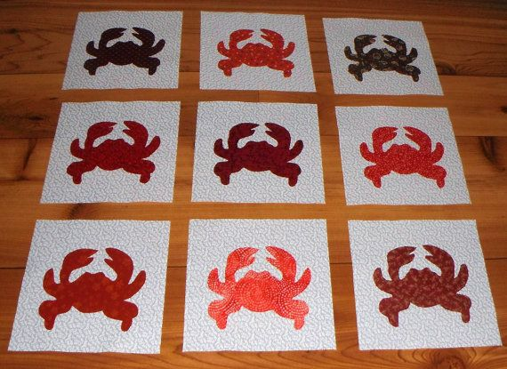 Set of scrappy red crab nautical applique by marsyesquiltshop