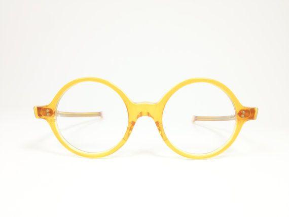 cb2b647f84 Vintage 1960s Yellow Mod Round Eyeglass Frames by MainAndGrand ...