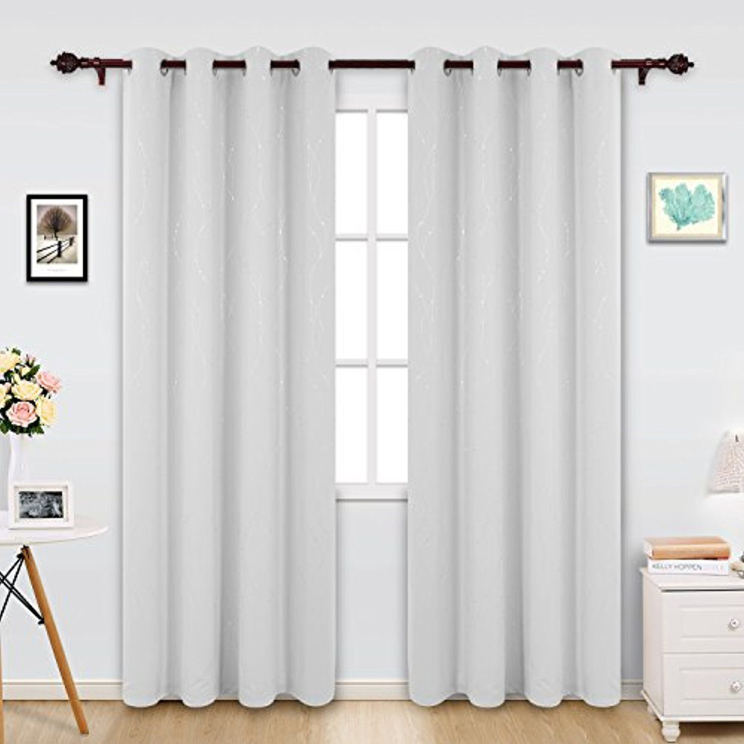 Deconovo Printed White Blackout Curtains Wave Line With Dots Grommet Blackout Window Curtains For Bedroom 52 White Blackout Curtains Curtains Blackout Curtains