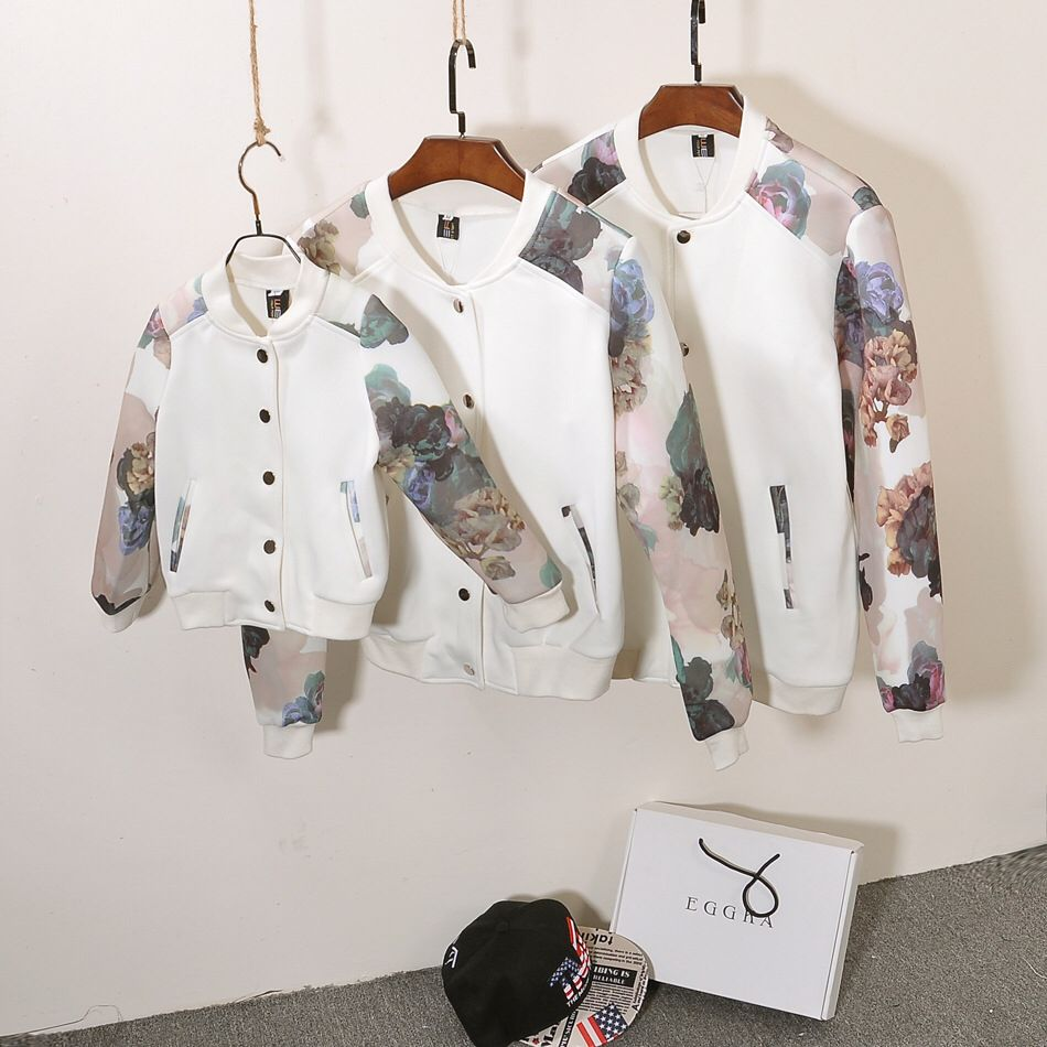 family clothes 2016 autumn winter leopard printed matching family outfits active baseball single breasted family clothing set
