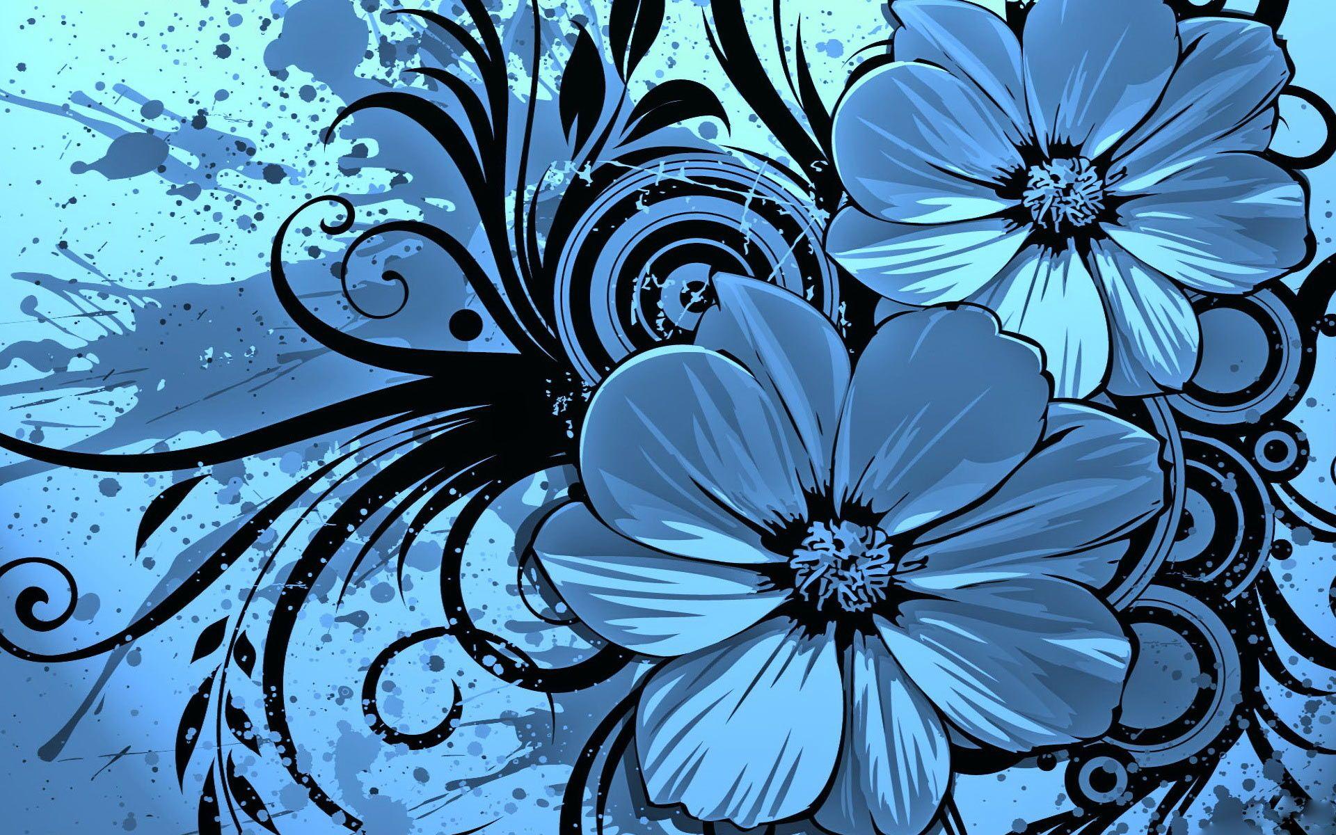 Blue Wallpaper Blue Blue Flower Wallpaper Vector Flowers Flower Desktop Wallpaper