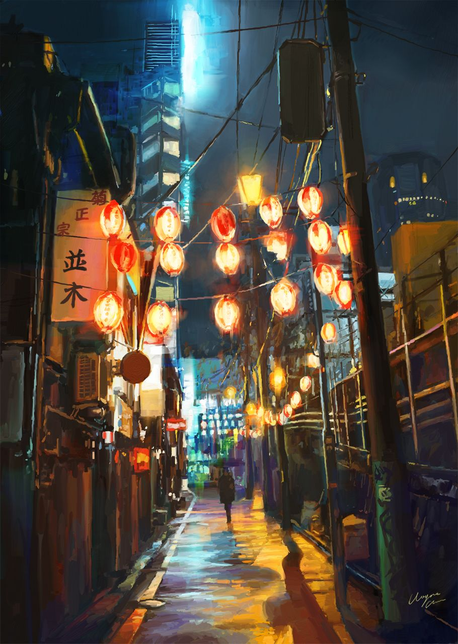 Anime Picture Search Engine Alley Billboard Building City Cityscape Coat Highres Holding Umbrella Lamppost Lantern Night Nig Japan Travel Tokyo Japan Street