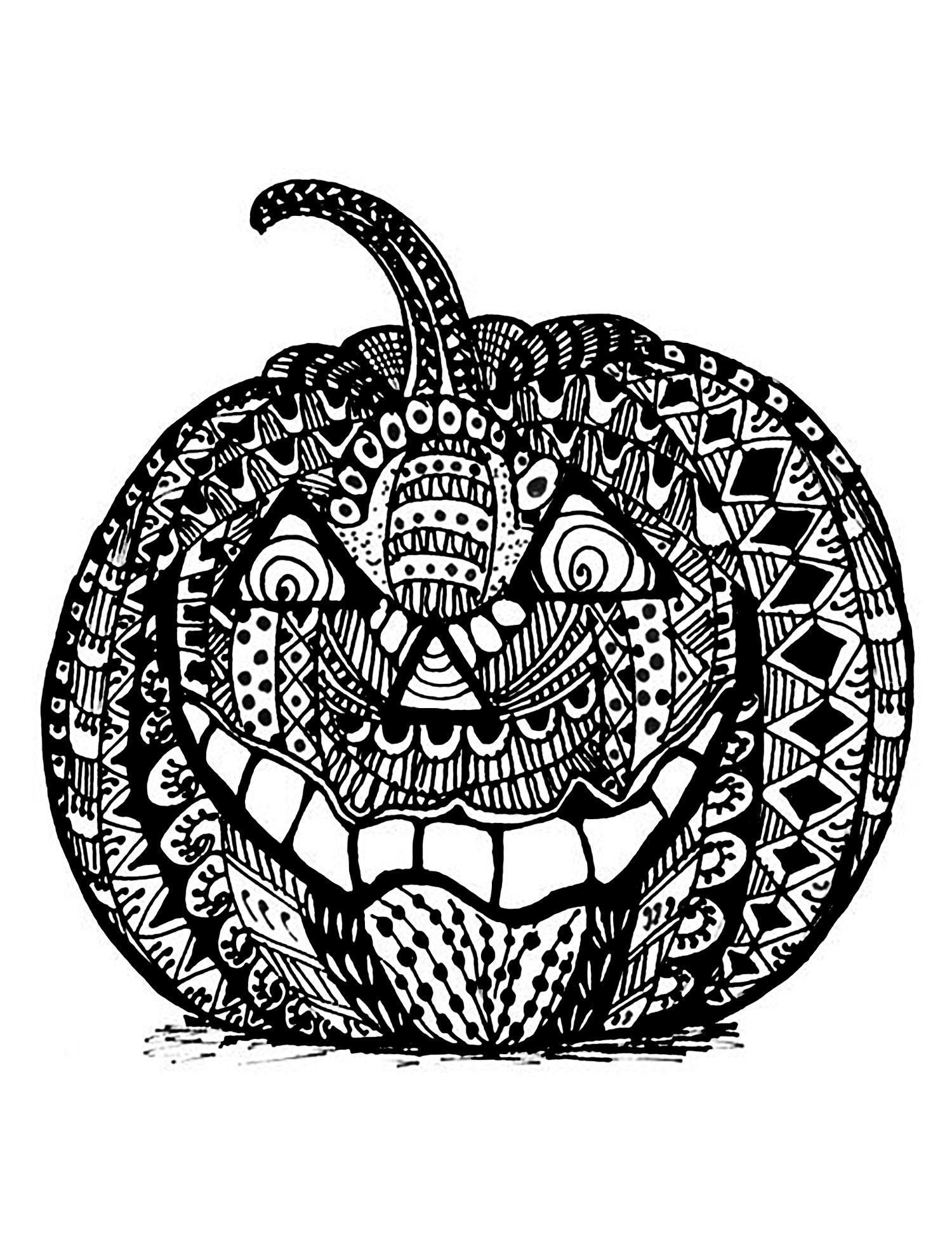 Halloween Zentangle Pumpkin Halloween Coloring Pages For Adults