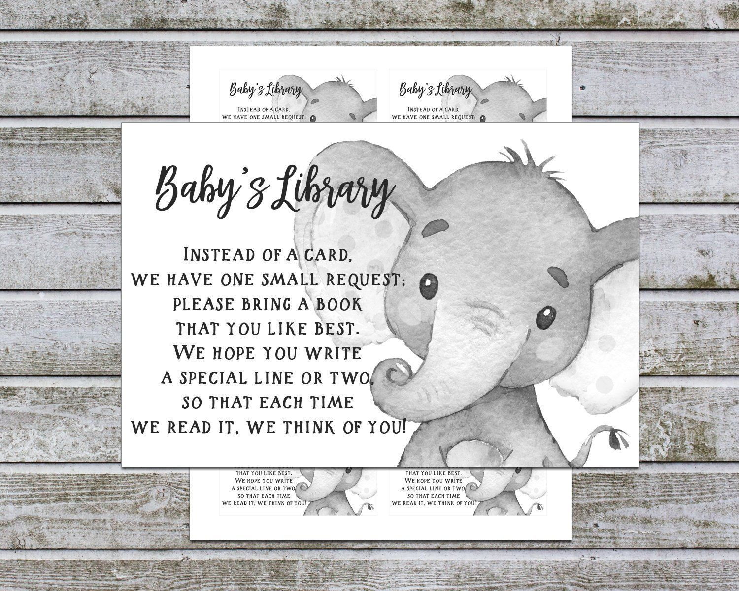 bring a book instead of a card free printable elephant
