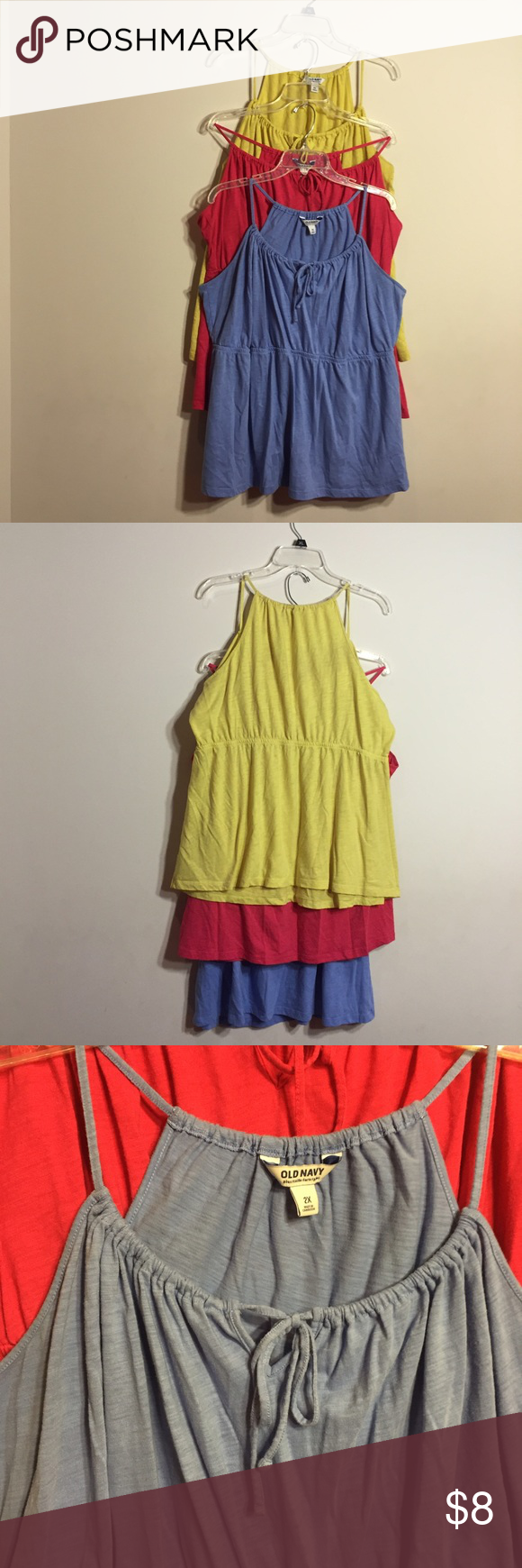 Set of three light weight Old Navy tank tops These thin, lightweight tanks are great for hot summer days. Multiple colors with tie-front detail. Great deal! Old Navy Tops Tank Tops