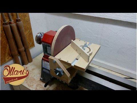 Adjustable Disc Sander And Miter Gauge For A Lathe Woodworking Crazy Lathe Woodworking Projects Diy Homemade Lathe