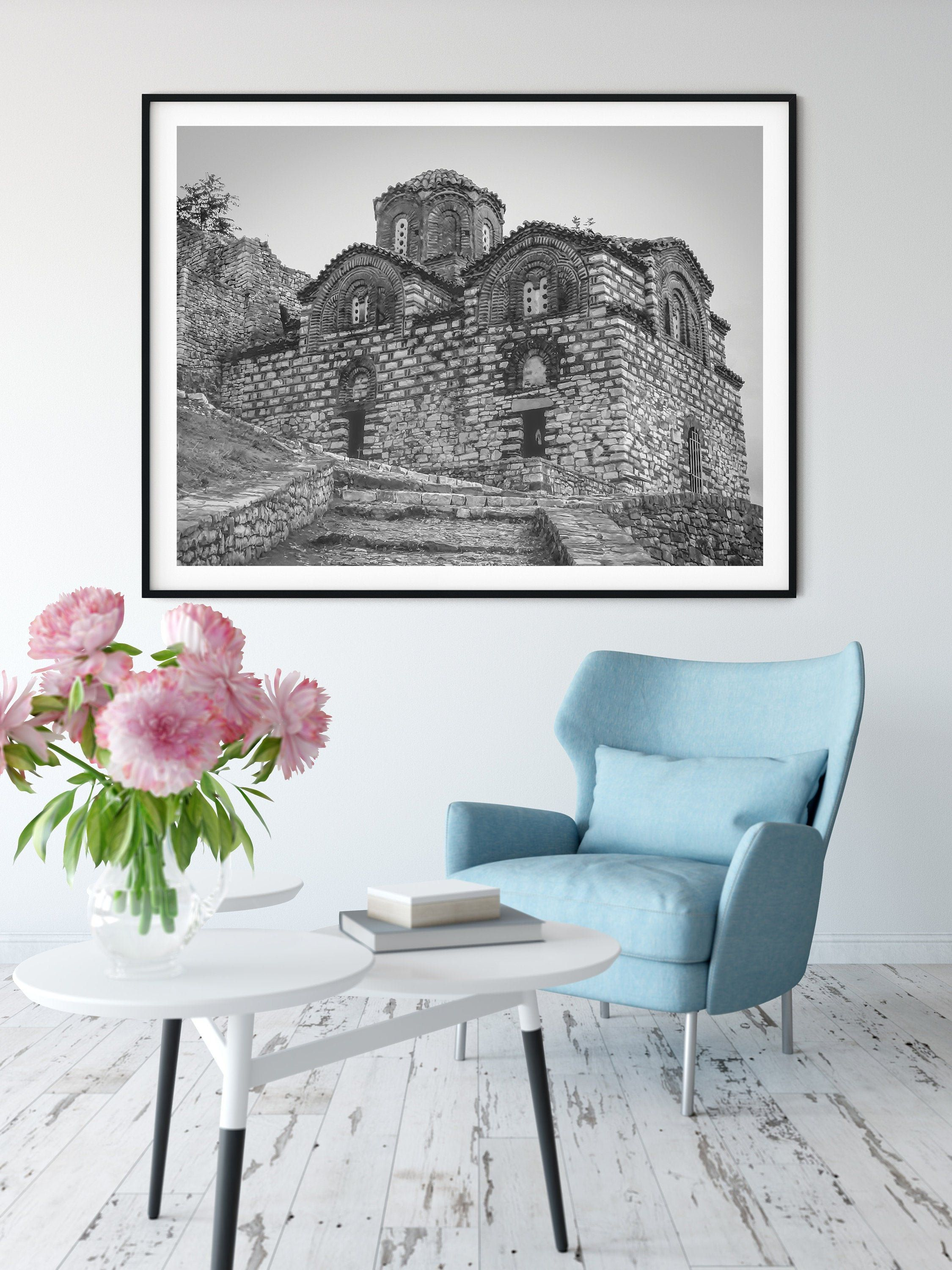 Albanian Architecture Print Black And White Wall Art Byzantine Church Travel Photography Home Wall Decorating By Katandkoutprintables On Etsy In 2021