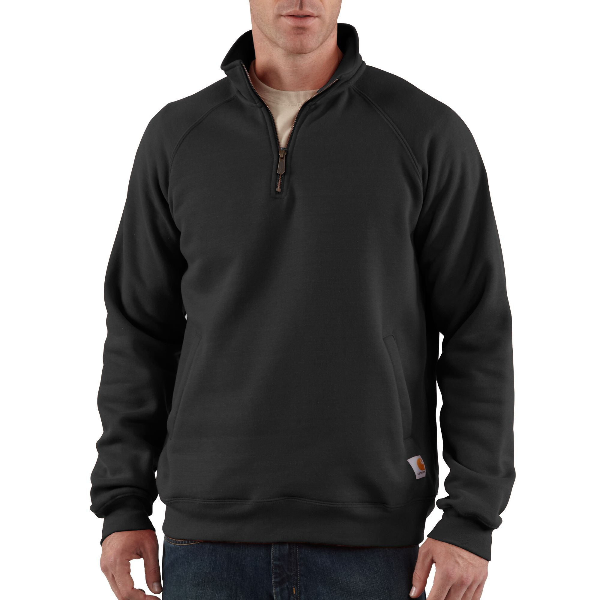Carhartt Mens Midweight Full Zip Mock Neck Zip Raglan Sweatshirt Top