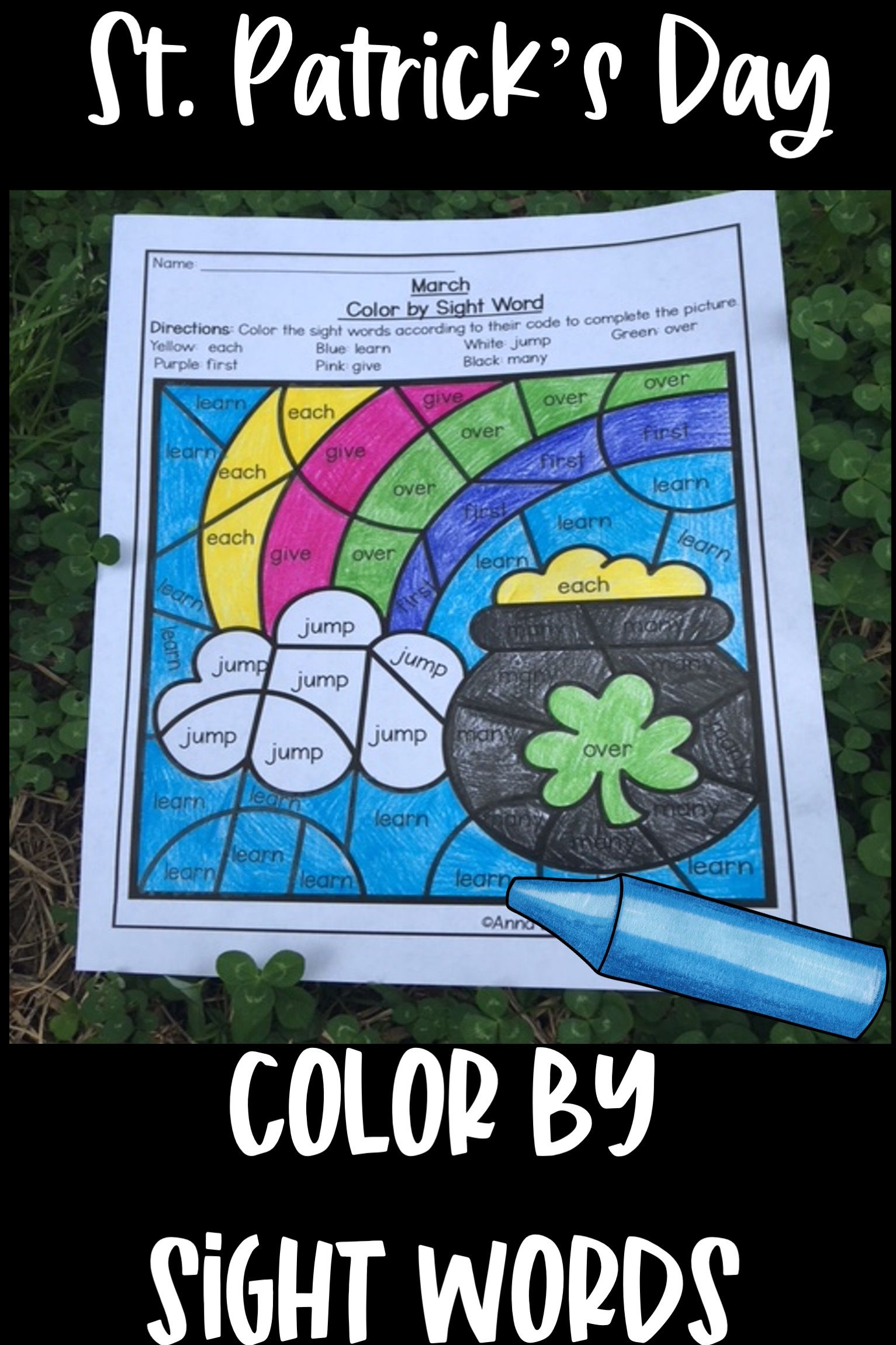 St Patricks Day Color By Sight Words In