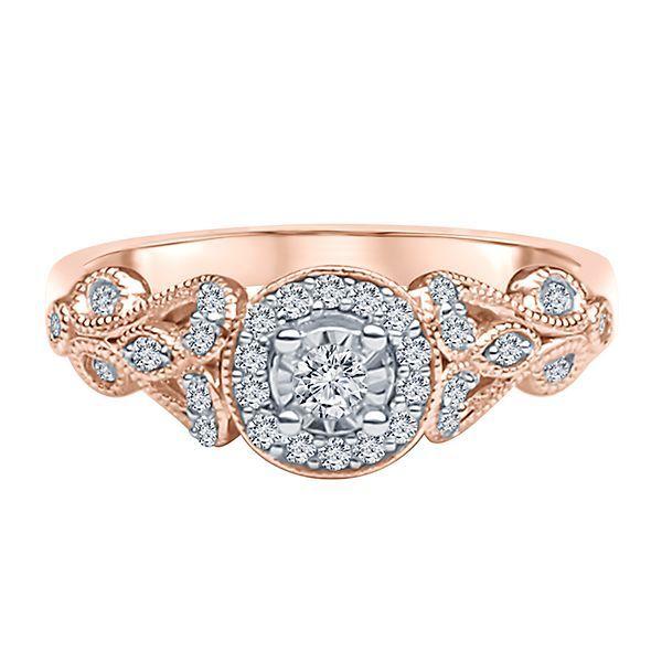 1/5 Ct. Tw. Diamond Illusion Engagement Ring In 10K Rose