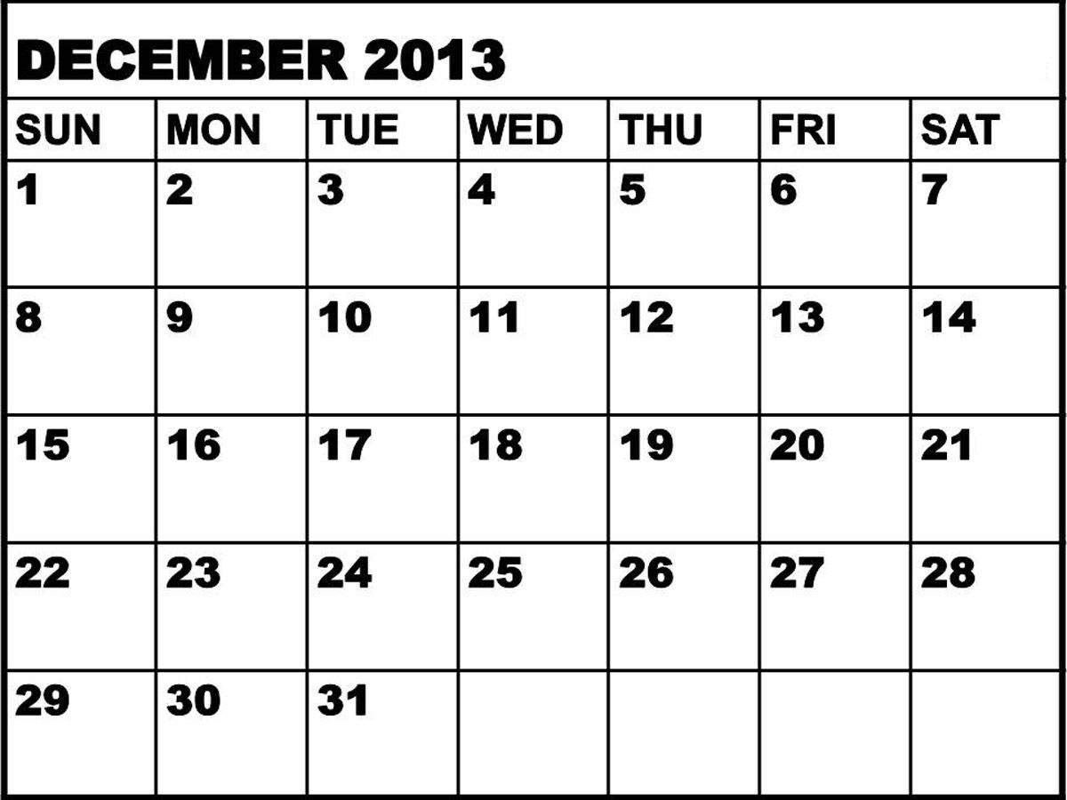 large january 2013 december printable calendar