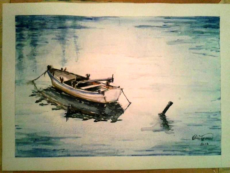 Artwork Aquarelle Watercolour Boat Author Eldon Omerhodziic