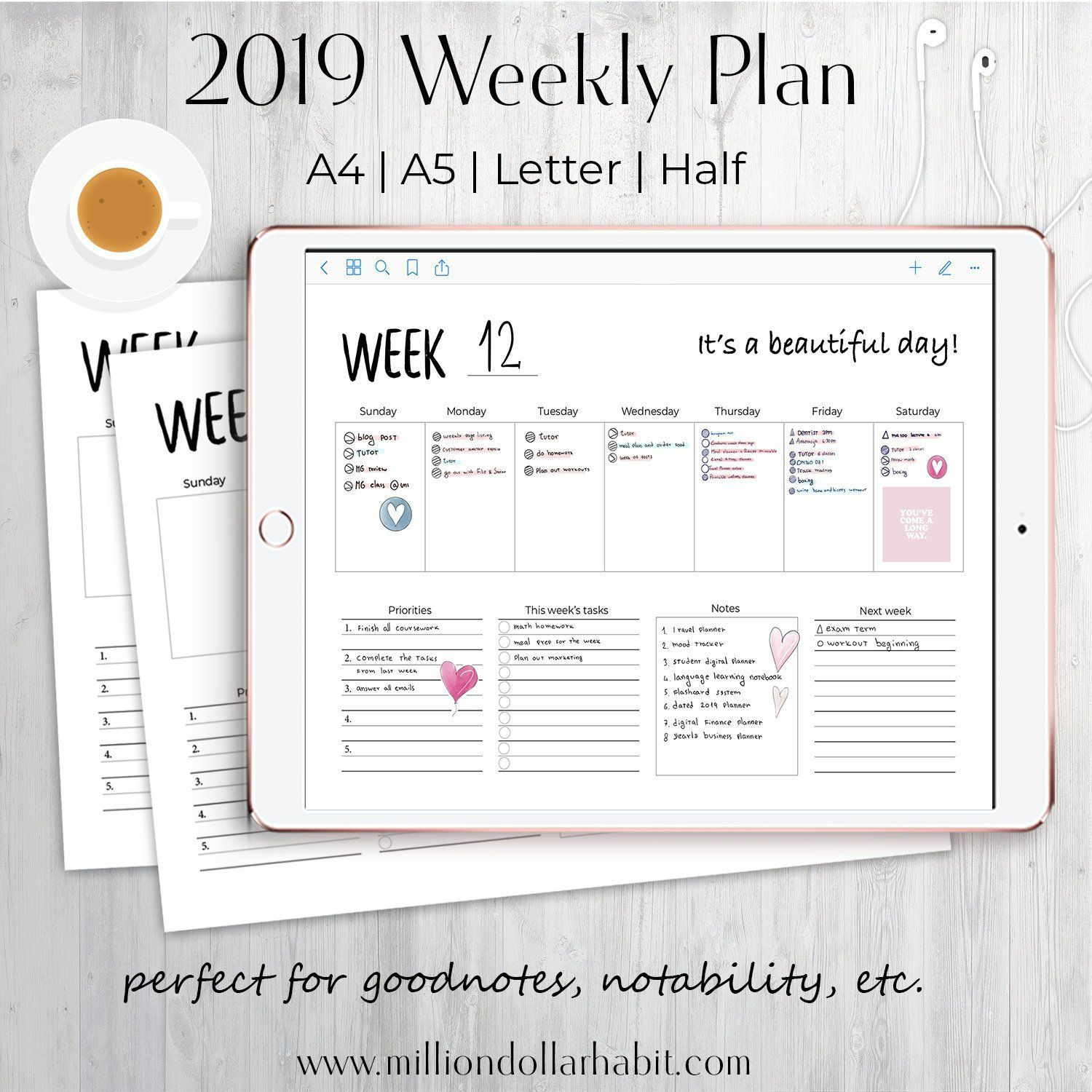 Weekly Planner 2019 Weekly Planner Weekly Planner Insert Weekly