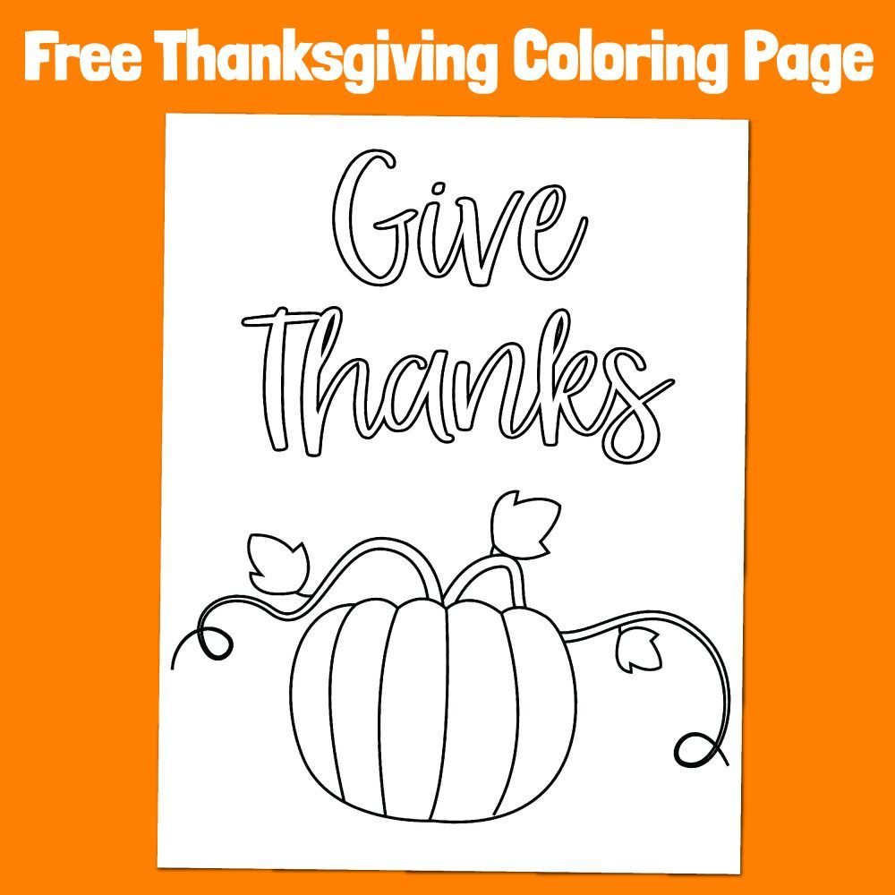 Give Thanks Thanksgiving Pumpkin Free Easy Coloring Page ...