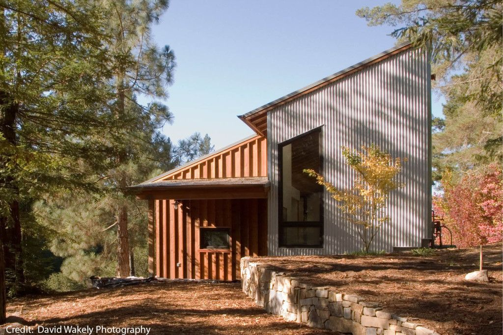 board and batten house plans | David Wakely). The metal siding is ...