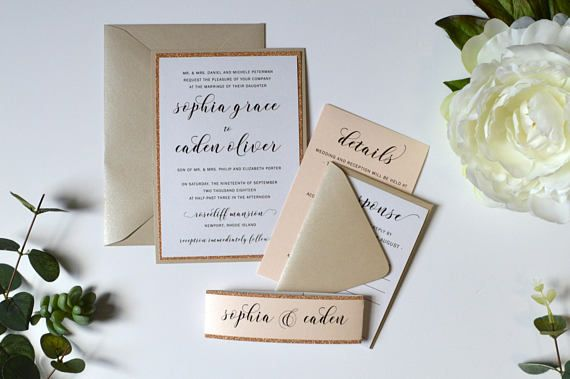 Champagne Wedding Invitations Champagne Blush and Rose Gold White