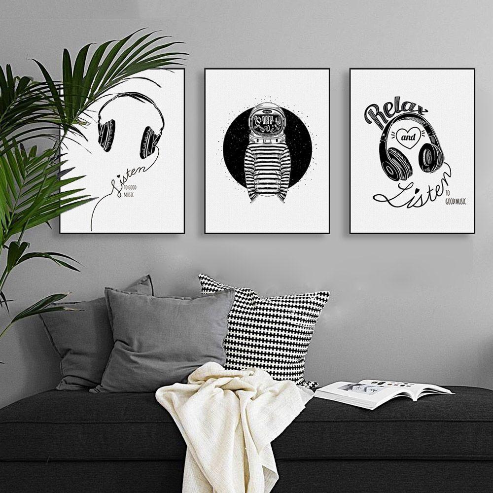 Günstige Abstrakte Schwarz Weiß Musik Zitate Leinwand A4 Kunstdruck ...
