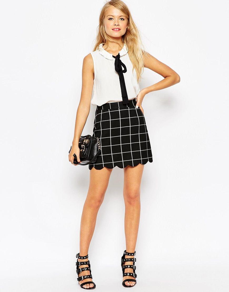 ASOS A-Line Check Scallop Hem Mini Skirt at asos.com