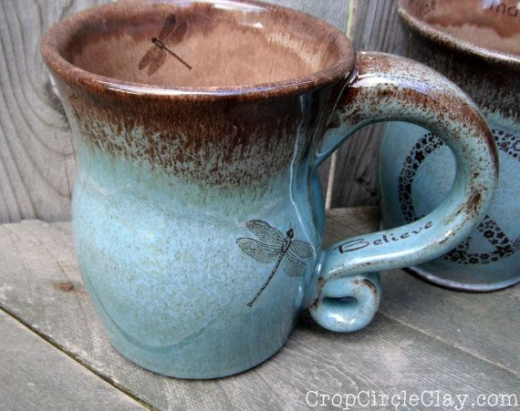 Made To Order Dragonfly Believe Coffee Mug By Cropcircleclay Wheel Thrown Pottery Pottery Mugs Mugs