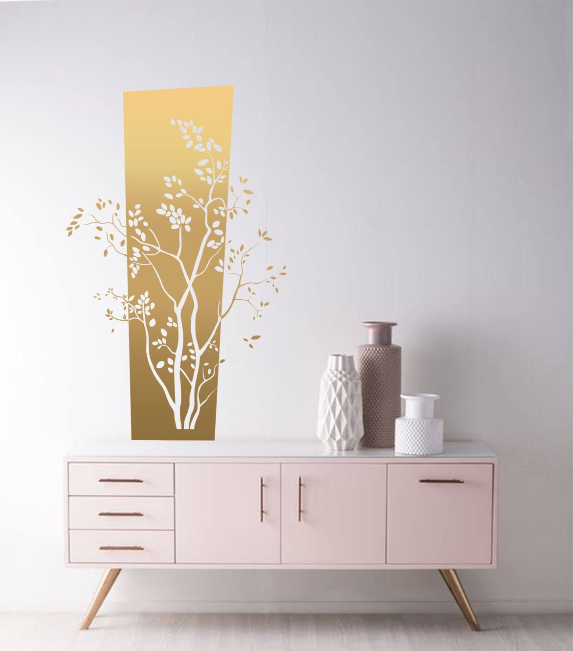 Tree Wall Decals Dorm Trees Decal Nursery Gold Bedroom Decor Leaves By