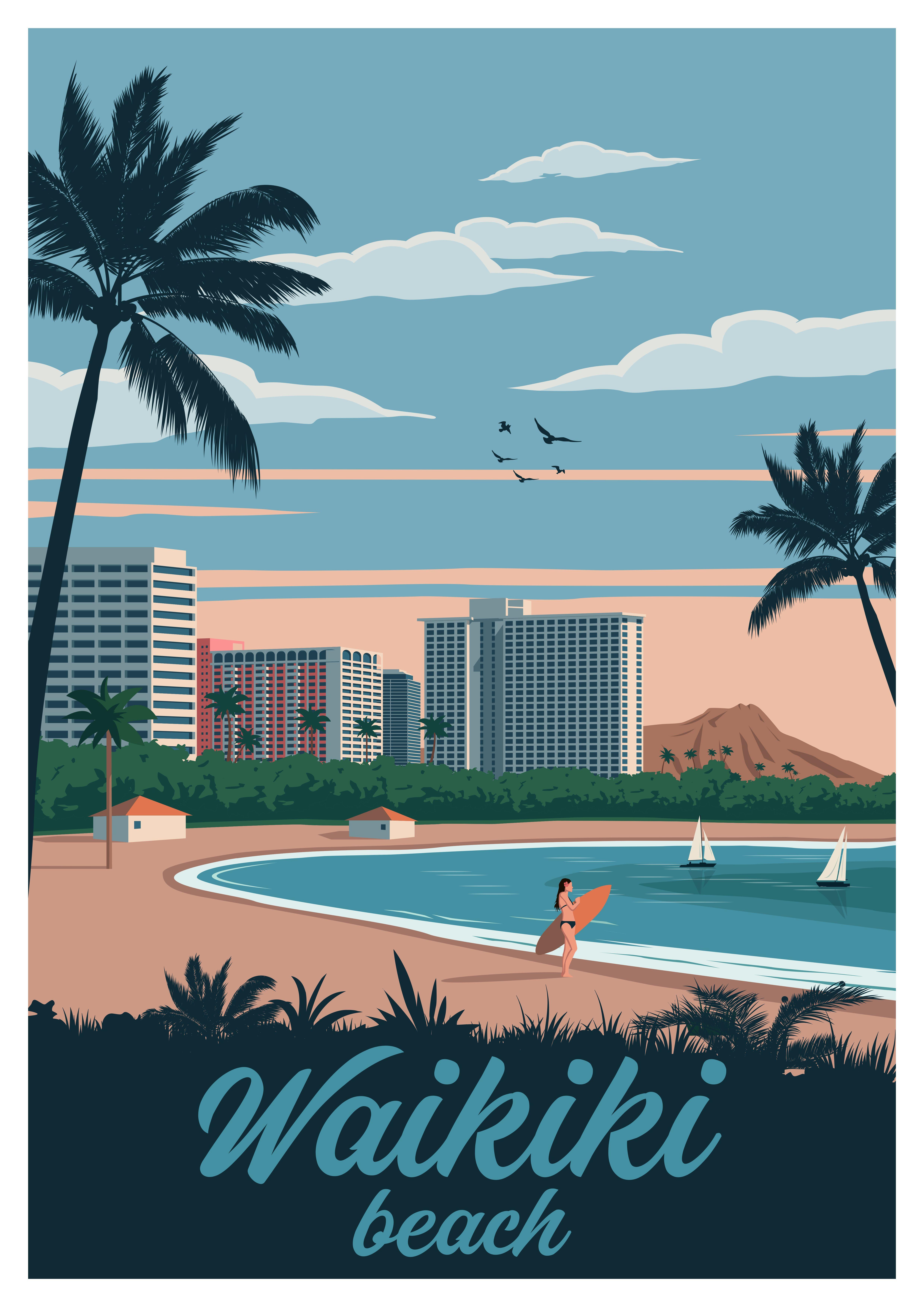 Waikiki Honolulu Hawaii Travel Poster Vintage Retro Wall Art Print Travel Posters Vintage Travel Posters Poster Vintage Retro